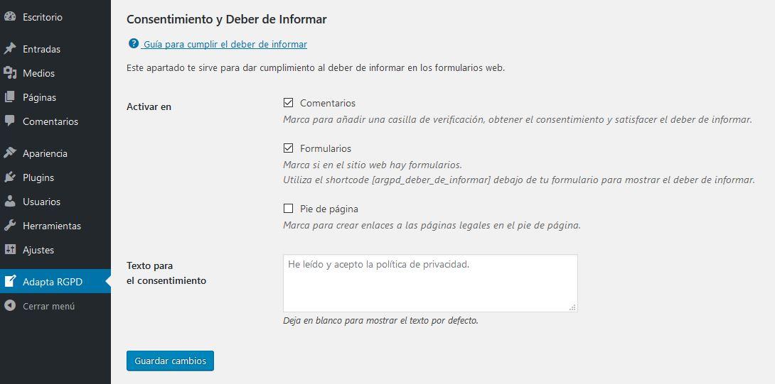 ADAPTA RGPD. Plugin WordPress para cumplir RGPD. Consentimiento y deber de informar.