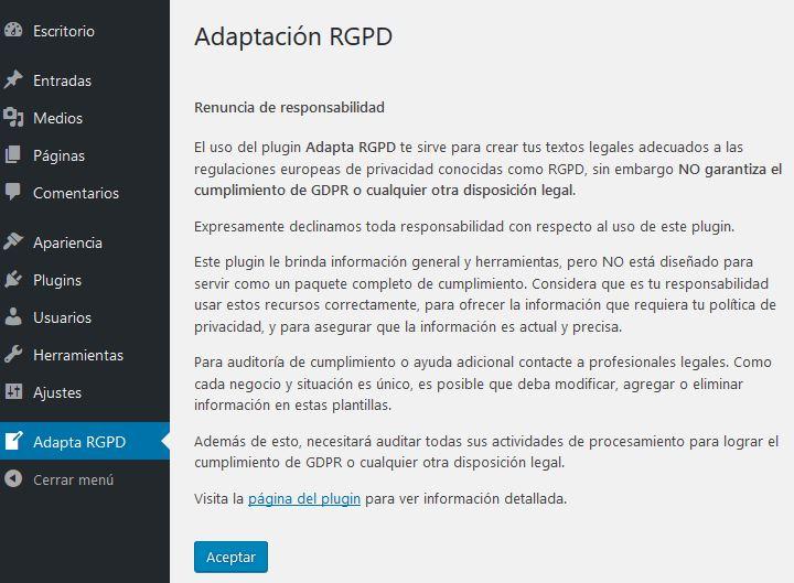 ADAPTA RGPD. Plugin WordPress para cumplir RGPD. Renuncia de Responsabilidad.