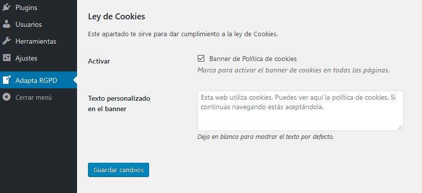 ADAPTA RGPD. Plugin WordPress para cumplir RGPD. Ley de Cookies.