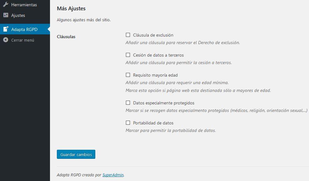 ADAPTA RGPD. Plugin WordPress para cumplir RGPD. Más ajustes.