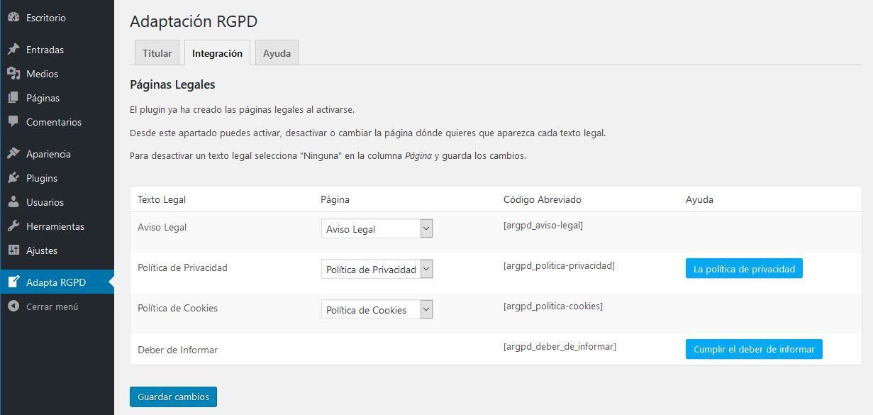 ADAPTA RGPD. Plugin WordPress para cumplir RGPD. Páginas legales.
