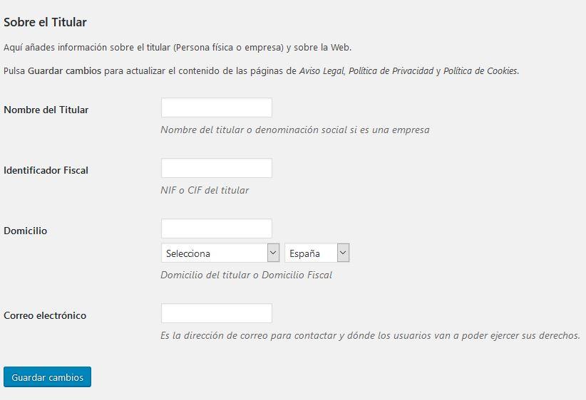 ADAPTA RGPD. Plugin WordPress para cumplir RGPD. Titular.