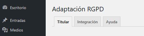 ADAPTA RGPD. Plugin WordPress para cumplir RGPD. Pestañas.